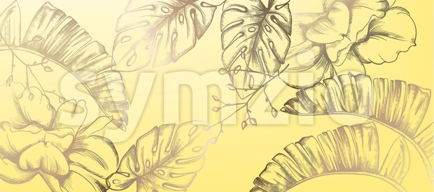 Tropic vintage pattern with palm leaves Vector. Retro shiny design texture