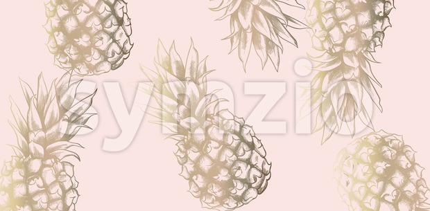 Tropic vintage pattern with pineapple Vector. Retro shiny design texture Stock Vector