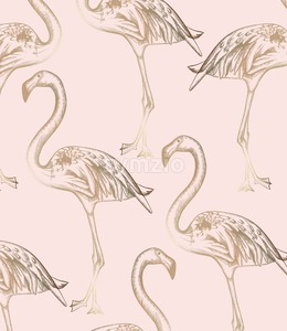 Flamingo pattern Vector. Vintage retro texture line art decor Stock Vector