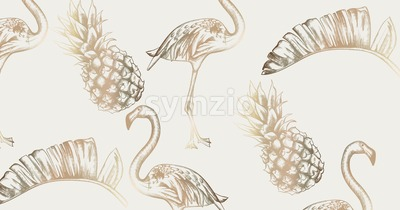 Tropic vintage card with flamingo and pineapple Vector. Retro extotic paradise shiny design texture Stock Vector