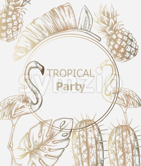 Tropic vintage pattern with flamingo and pineapple Vector. Retro extotic paradise shiny design texture