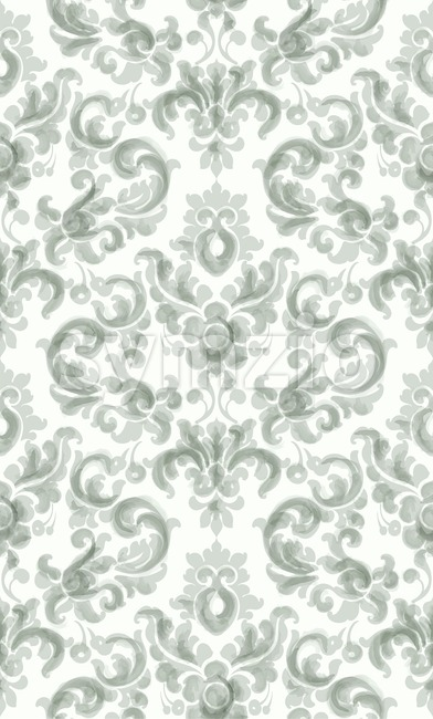 Classic elegant ornament pattern watercolor vector. Green delicate color texture Stock Vector