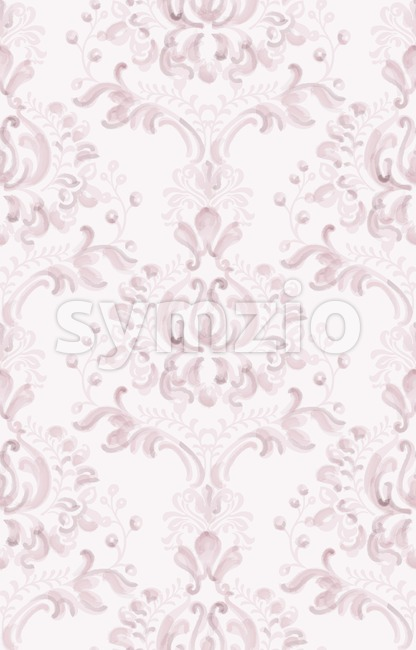 Classic elegant ornament pattern watercolor vector. Pink delicate color texture Stock Vector
