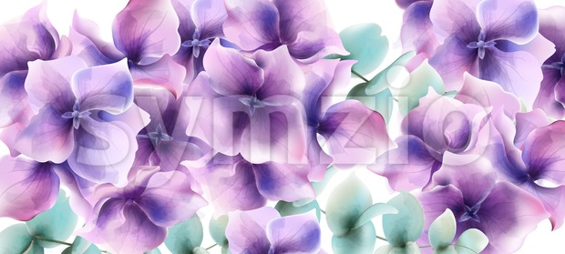 Lily flowers card background Vector watercolor. Floral wedding decor Stock Vector