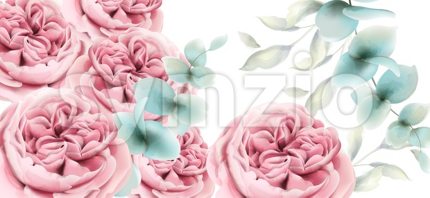 Peony flowers card Vector watercolor. Delicate pink floral decor Stock Vector