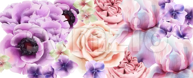 Purple flowers Vector watercolor. Provence rustic poster. Wedding card, birthday ceremony event decor Stock Vector