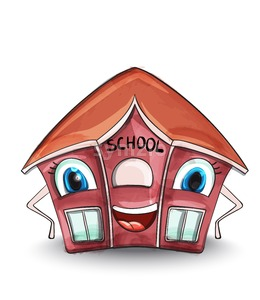 School house Vector. Cartoon characters illustration. Red building Stock Vector