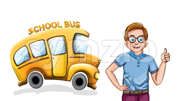 Happy boy and school bus Vector funny cartoon illustration Stock Vector