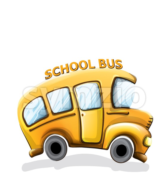 School bus funny cartoon Vector. Happy smilling back to school concept Stock Vector