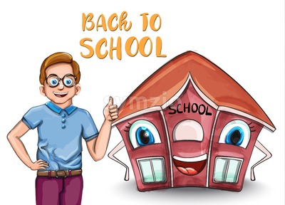 Happy Kid and cartoon house back to school concept Vector. Cartoon characters illustration Stock Vector