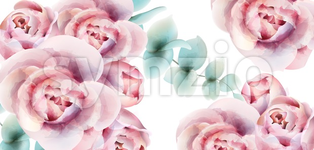 Roses watercolor background card Vector. Delicate floral decor bouquet