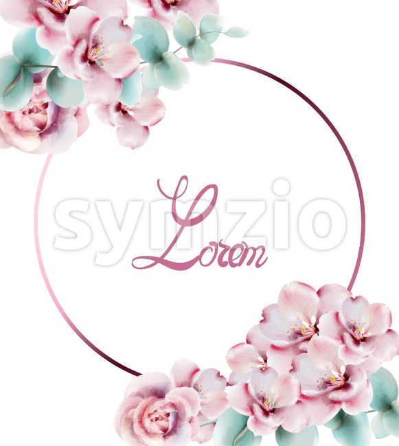Roses watercolor card Vector. Delicate floral decor bouquet Stock Vector