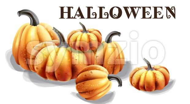 Halloween pumpkins vector watercolor. Balloons and hat decor Stock Vector