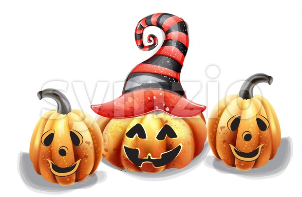 Halloween pumpkin happy faces vector watercolor. Smilling pumpkin witch hat decor Stock Vector