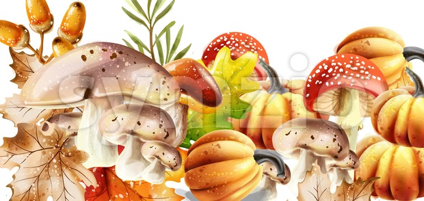 Autumn harvest pattern Vector. Fall muchrooms and fruits decor poster Stock Vector