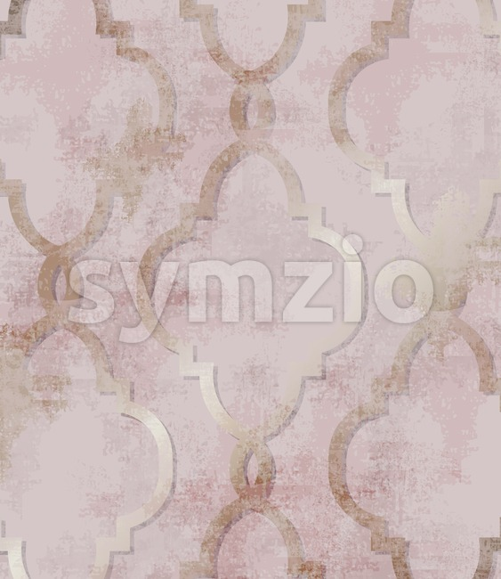 Arabic golden rose ornament pattern background Vector. Watercolor grunge glossy trendy decor Stock Vector