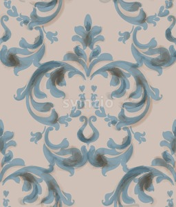 Classic baroque ornament Vector. Blue watercolor decor trendy texture old style Stock Vector