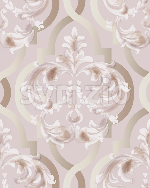 Arabic golden rose ornament pattern background Vector. Watercolor glossy trendy decor Stock Vector