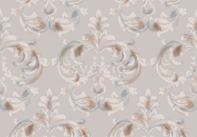 Arabic baroque ornament pattern background Vector. Watercolor glossy trendy decor Stock Vector