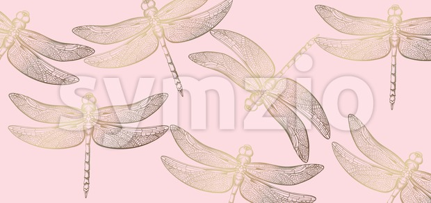 Dragonfly golden pattern Vector line art. Texture shiny decor Stock Vector