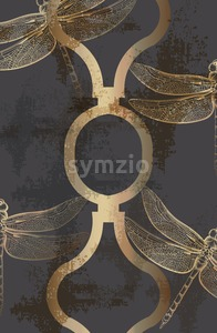 Dragonfly golden pattern Vector line art. Abstract texture shiny ornament decor Stock Vector