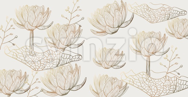 Lotus pattern Vector line art. Golden texture shiny floral decor Stock Vector