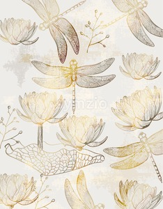 Lotus and dragonfly pattern Vector line art. Golden texture shiny decor Stock Vector