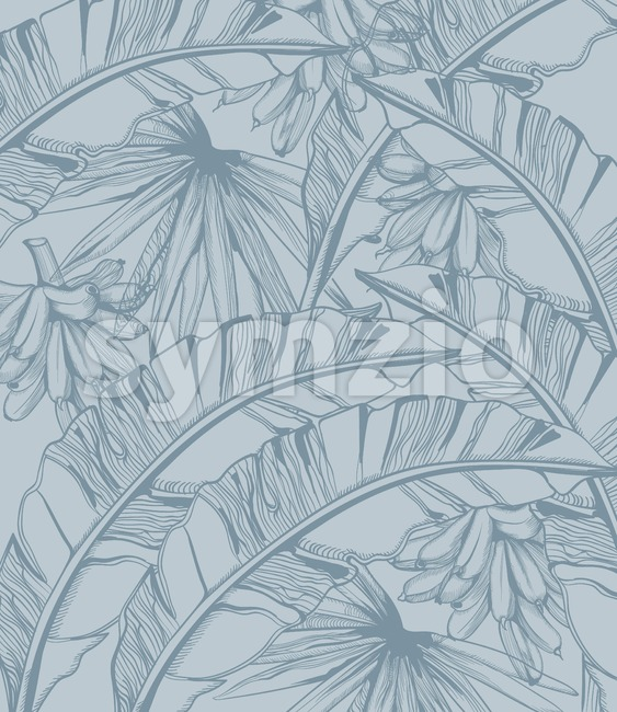 Palm leaves and bananas pattern tropic vector line art. Summer poster exotic decoration Stock Vector