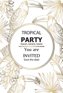 Parrot golden card Vector line art. Exotic palm leaves decor. Summer tropic party poster Stock Vector