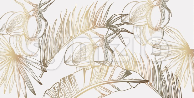Palm leaves pattern golden tropic vector line art. Summer poster exotic decoration Stock Vector