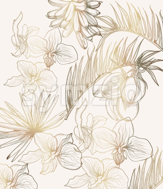 Golden tropic flowers vector line art. Summer floral frame decoration Stock Vector