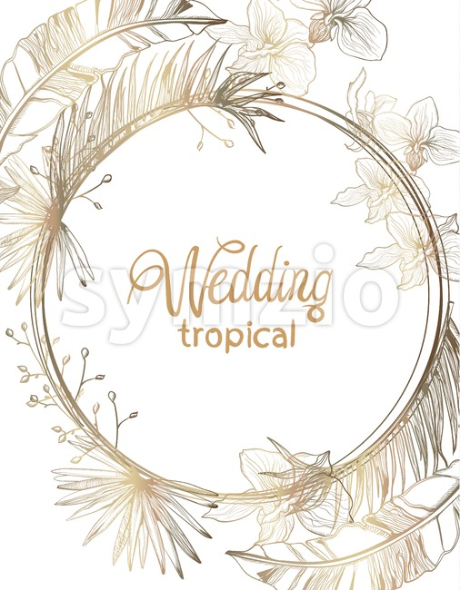 Wedding card golden tropic flowers vector line art. Summer floral frame decoration Stock Vector
