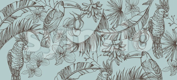 Tropic parrot card Vector line art . Exotic pattern leaves decor Stock Vector