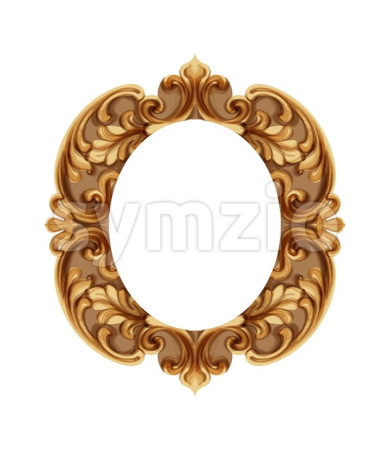 Baroque luxury golden frame Vector. Elegant mirror decor. Victorian ornaments rich framed trendy design Stock Vector