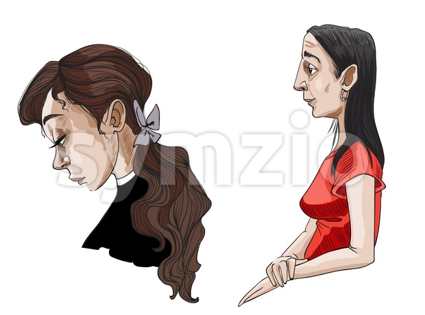 Teenager girl and old lady Vector portrait artistic. Woman in different ages time passing concept Stock Vector