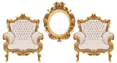 Golden baroque armchair Vector. Luxurious furniture design. Victorian rich ornaments decor Stock Vector