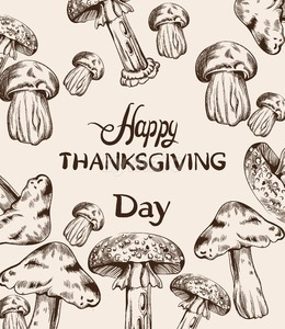Happy Thanksgiving card line art Vector. Mushrooms and veggies detailed illustration Stock Vector