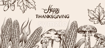 Happy Thanksgiving card line art Vector. Corn autumn harvest illustration Stock Vector