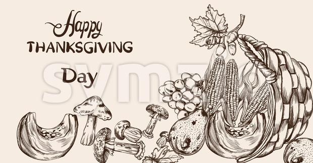 Happy Thanksgiving dinner menu line art Vector. Fall havest veggies detailed illustration Stock Vector