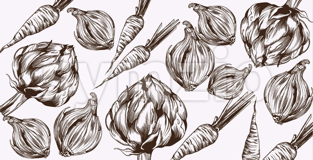 Artichoke and onions Vector line art. Veggies pattern fresh harvest Stock Vector