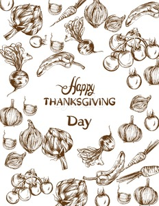 Happy Thanksgiving day Vector card. Autumn fall veggies harvest Stock Vector