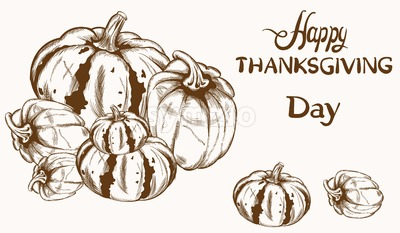 Happy Thanksgiving card pumpkin line art Vector. Basket of autumn harvest Stock Vector