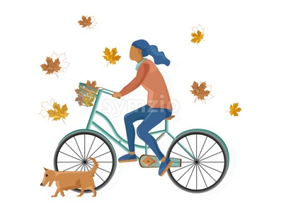 Woman on bicycle Vector flat style. Fall season lifestyle cycling in park Stock Vector