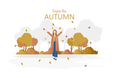 Woman with umbrella rainy autumn season Vector. Fall lifestyle poster Stock Vector