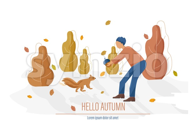 Autumn card with man feeding a squirrel Vector flat style illustration Stock Vector