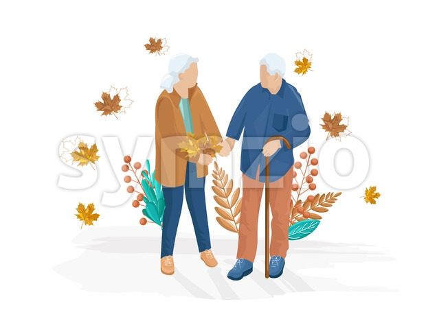 Old couple walking Vector flat style. Autumn fall season illustration Stock Vector