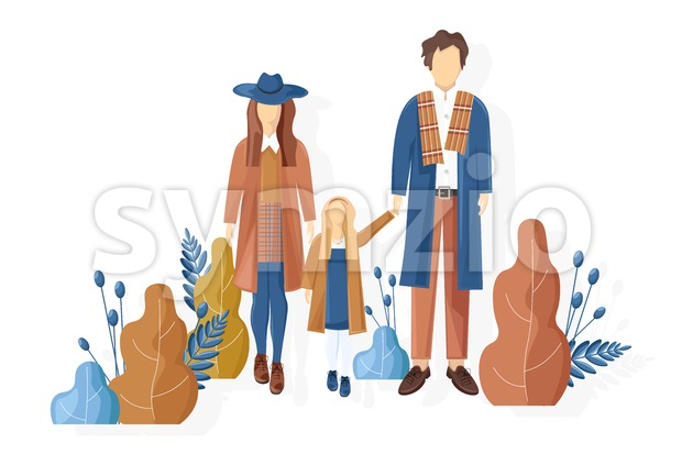 Young family walking in the park autumn Vector. Fall season lifestyle couple and a child. Stylish clothes trendy pastel colors Stock Vector