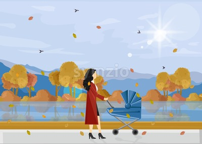 Woman with a baby in the park autumn walk Vector. Fall season parenting activities lifestyle poster Stock Vector