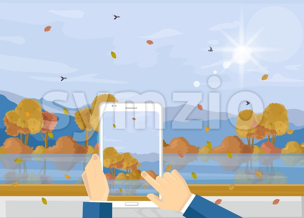 Man with smartphone taking picture of autumn landscape Vector. Fall season landscape flat style