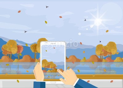 Man with smartphone taking picture of autumn landscape Vector. Fall season landscape flat style Stock Vector